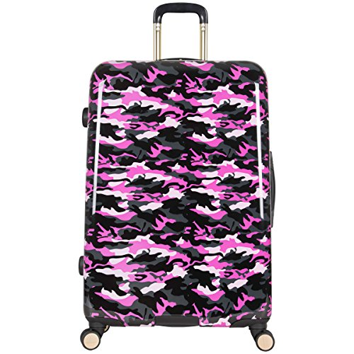 "Aimee Kestenberg Women's Sergeant 28"" Camo Printed Hardside Expandable 8-Wheel Spinner Checked Luggage, Pink"