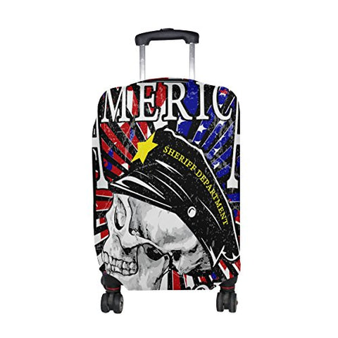 GIOVANIOR Skull America Motorcycle Poster Luggage Cover Suitcase Protector Carry On Covers