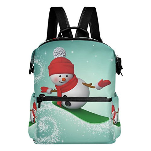 Colourlife Snowman Snowboarding Stylish Casual Shoulder Backpacks Laptop School Bags Travel