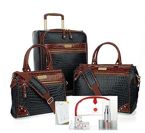 "Samantha Brown 12 Piece Classic Croco Luggage 21"" Upright, Dowel Bags,Plus Extras~Black"