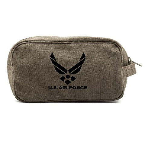 US Air Force Canvas Shower Kit Travel Toiletry Bag Case in Olive & Black