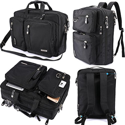 FreeBiz Laptop Backpack Messenger Bag-Hybrid Briefcase Backpack Vintage Bookbag Rucksack Satchel-Nylon Water-Resistant for 15.6 Inch Laptop
