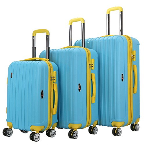 The Blue Brio Thick Rib 3-Piece Hardside Spinner Luggage Set