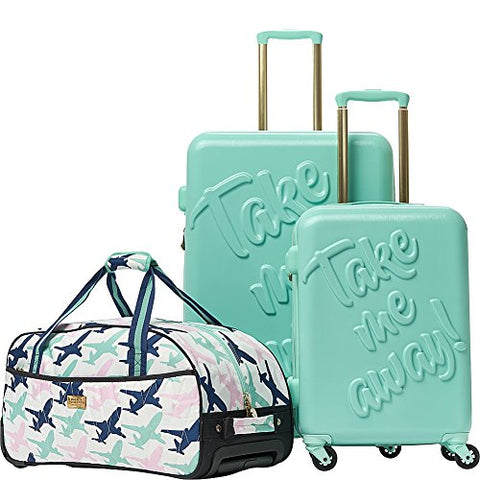 Macbeth Women's Take Me Away 3 Piece Nested Luggage Set, Mint