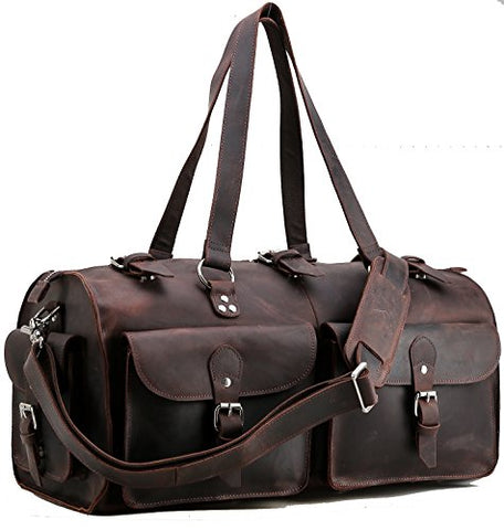 Polare 22'' Indiana Jones Looking Natural Leather Weekender Carry On Duffle Bag
