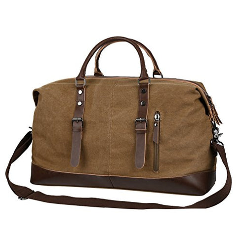 Vbiger Canvas Travel Duffel Tote Bag Vintage Travel Shoulder Bag Classic Weekender Bag Weekend
