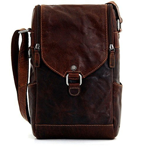 Jack Georges [Personalized Initials Embossing] Voyager Leather Crossbody Messenger Bag & Wine Bag in Brown