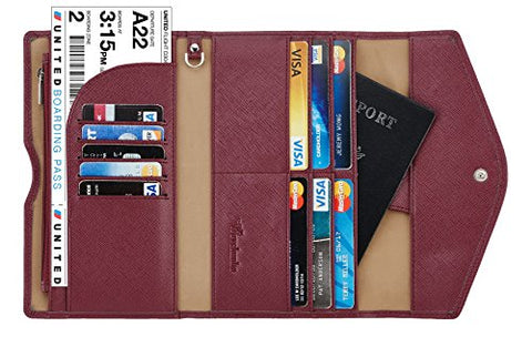Travelambo Rfid Blocking Passport Holder Wallet & Travel Wallet Envelope Various Colors(wine red/burgundy)