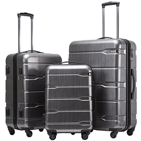 Coolife Luggage Expandable 3 Piece Sets Pc+Abs Spinner Suitcase 20 Inch 24 Inch 28 Inch (Charcoal