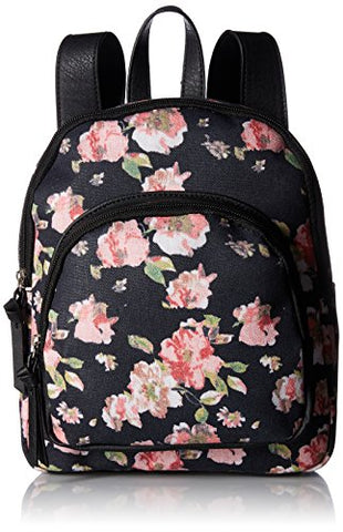 Bueno of California Bueno Canvas Backpack, black/pink flowers