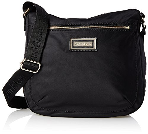 Calvin Klein Belfast Nylon Top Zip Messenger Crossbody, Black/Gold