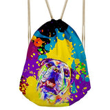 Bigcardesigns Drawstring Backpack Lovely Pug Print Yoga Bag Gymsack