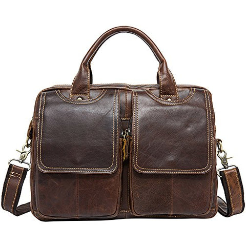 14inch Laptop Messenger Bag,Berchirly Leather Briefcase Fits 14 inch Laptop Vintage Business