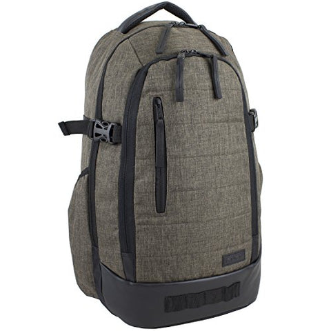 Fuel Athleisure Sleek Backpack with Ergonomic Padded Support System, Dark Brown Chambray/Blaze