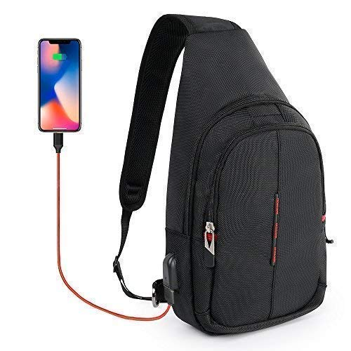 CrossGear Small Sling Backpack with USB Charging Port Waterproof Pouch Chest Shoulder Mini Bag