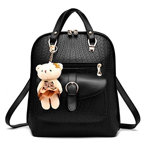 S Kaiko PU Leather Backpack Casual Daypacks School Backpack for Women Rucksack Travel Backpack for Go Shopping (black)
