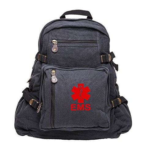 EMS Emergency Medical Services Army Sport Heavyweight Canvas Backpack Bag in Black & Red, Large