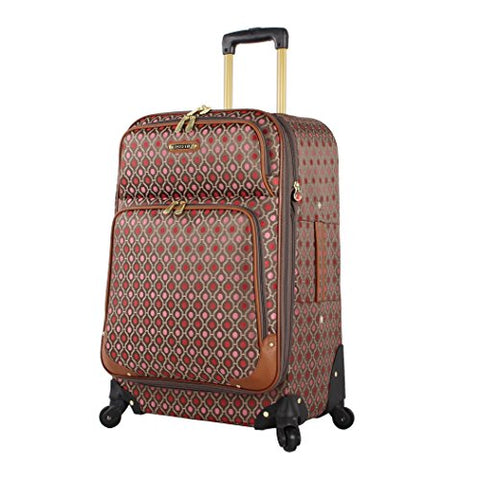 "Rosetti Luggage Expandable Softside Large 28"" Suitcase With Spinner Wheels (24In, Lighten Up Red)"
