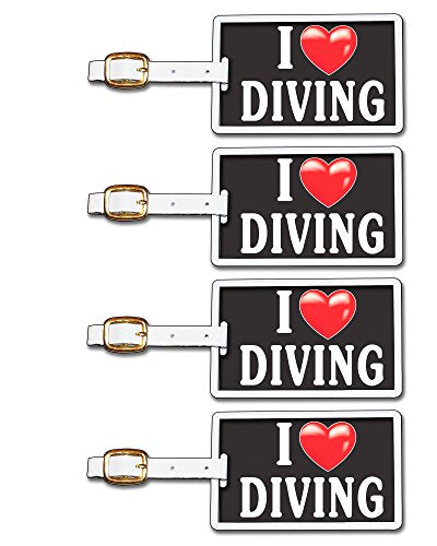 Tag Crazy I Heart Diving Four Pack, Black/White/Red, One Size