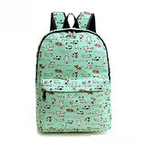 Travel Lightweight Canvas Cute Print Backpack Girls Women For School and Laptop (Green cat)