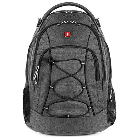 Swissgear Travel Gear Lightweight Bungee Backpack (Heather Grey) - For School, Travel, Carry On,