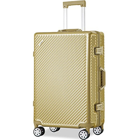 Flieks Aluminum Frame Luggage TSA Approved Zipperless Suitcase with Spinner Wheels 20 24 28inch Available (24-Checking in, Luxury Gold)