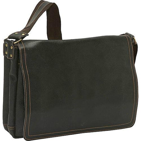 David King & Co. Leather Full Flap Laptop Messenger L Distressed, Cafe, One Size