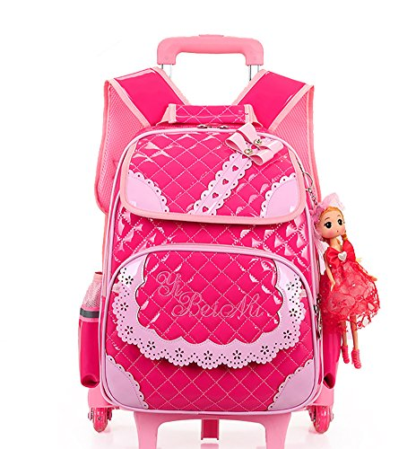 2dab3671b9fe Meetbelify Rolling Backpacks For Girls School Bags Trolley Handbag With  Lunch Bag Style B-Rose Red