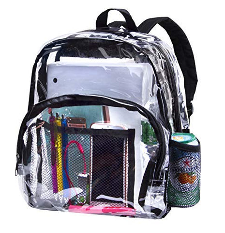 Heavy Duty Clear Backpacks for School Bookbag Stadium Approved Transparent Bag