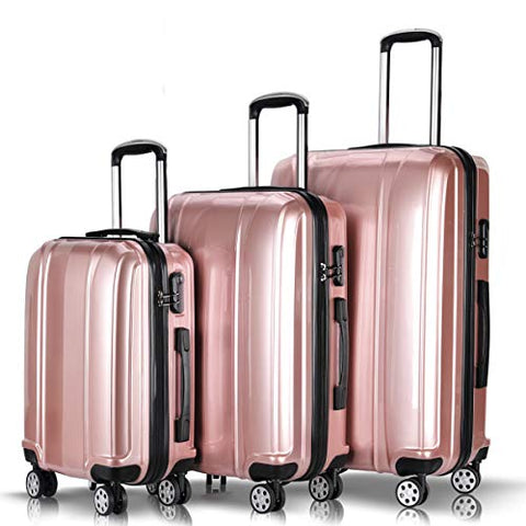 "Goplus 3Pcs Luggage Set, Hardside Travel Suitcase, 20"" 24"" 28"" ABS + PC Travel Trolley Case w/Coded Lock, 360° Spinner Wheels Lightweight Suitcase"