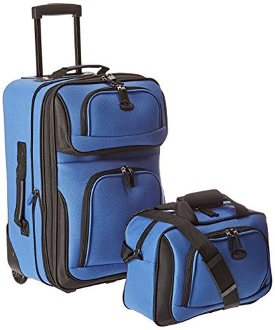 U.S Traveler Rio Carry-On Lightweight Expandable Rolling Luggage Suitcase Set - Royal Blue (15-Inch And 21-Inch)