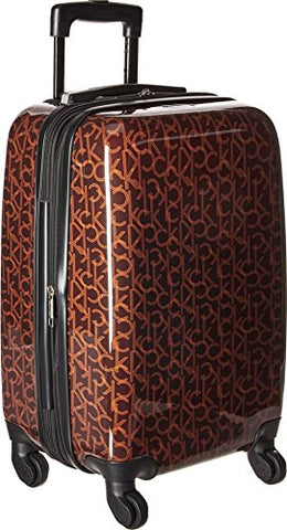 "Calvin Klein Unisex CK-510 Signature Hardside 20"" Upright Suitcase Brown One Size"
