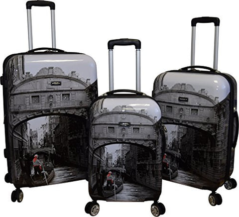 Kemyer 788 Vintage World Series Lightweight 3-Pc Expandable Hardside Spinner Luggage Set (New