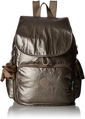 Kipling Women'S Ravier Medium Solid Backpack, Metallic Pewter