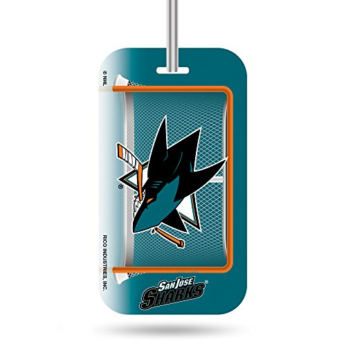 Nhl San Jose Sharks  Crystal View Team Luggage Tag, Orange, Teal, 7.5-Inches By 3-Inches By