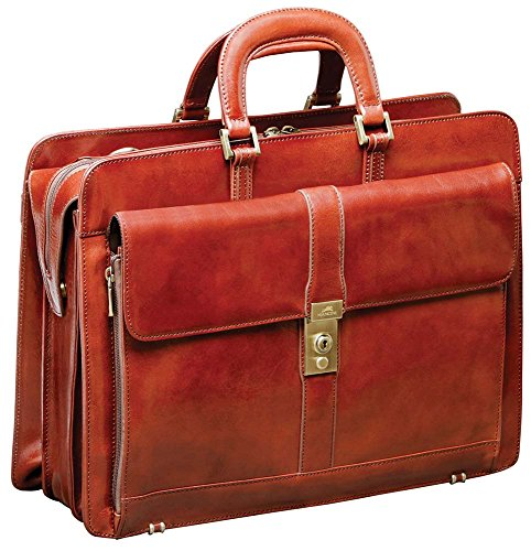 "Mancini SIGNATURE Luxurious Italian Leather 17.3"" Laptop Briefcase in Brown"