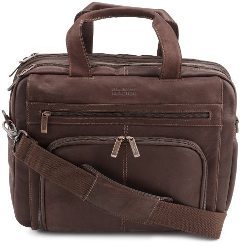"Kenneth Cole Reaction ""Out Of The Bag"" Colombian Leather Double Compartment Expandable Top Zip Portfolio/Computer Case/  Fits Most 15.4"" Laptops, Brown, One Size"