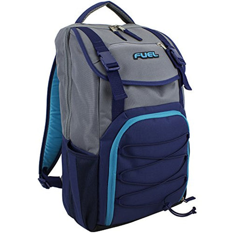 Fuel Triumph School Bookbag, Sports Backpack, Travel, Carry on, Hiking, Camping - Gray/Blue