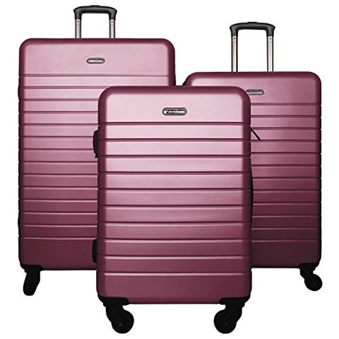 3 Pc Luggage Set Durable Lightweight Spinner Suitecase Lug3 Sk0040 Purple