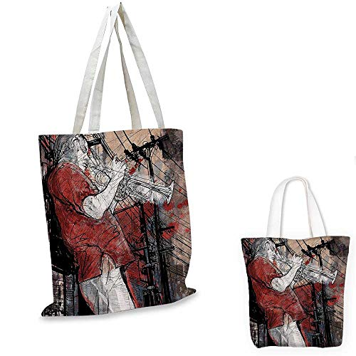 Jazz Music Decor canvas messenger bag Trumpet Musician On Grunge Cityscape Background in The