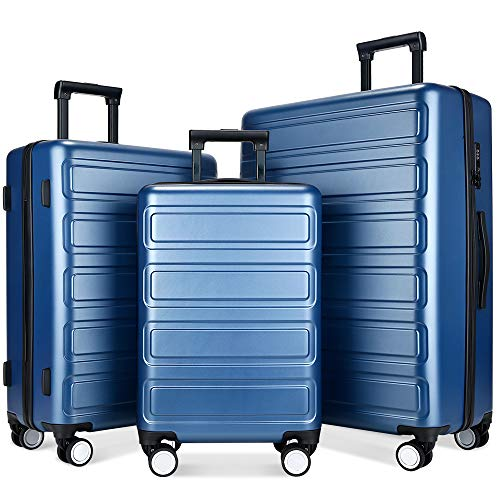Luggage Sets, SHOWKOO 3 Piece Polycarbonate Durable Hardshell & Lightweight Suitcase Double Wheels TSA Lock City Fashion Blue 20in24in28in