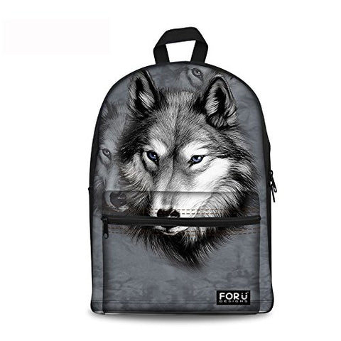 Freewander Canvas Book Bag Cute Wolf Personalized Junior High School Backpack