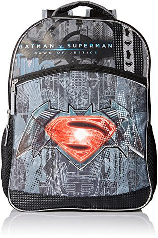 Warner Brothers Boys' Batman Vs. Superman Logo Backpack, Grey/black