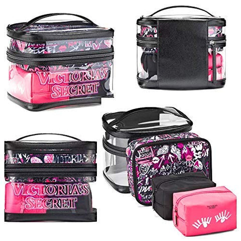Victoria's Secret Train Case Travel Tote Clear Graffiti 4 Piece Set