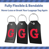 Initial Luggage Tag with Full Privacy Cover and Stainless Steel Loop (Black) (G)