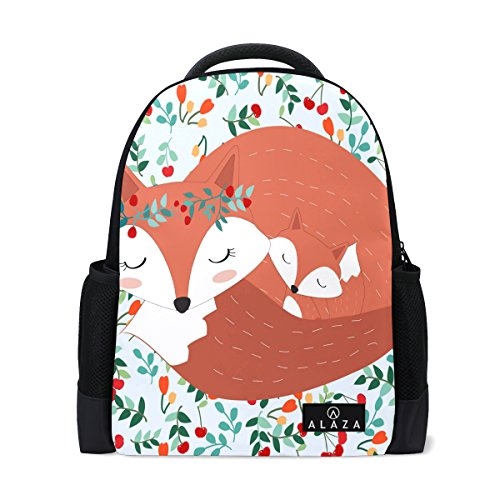 My Daily Lovely Mother Fox Baby Cartoon Backpack 14 Inch Laptop Daypack Bookbag for Travel