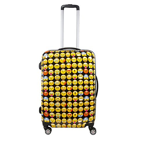 Ful Emoji 28in Spinner Rolling Luggage Suitcase Suitcase, Yellow