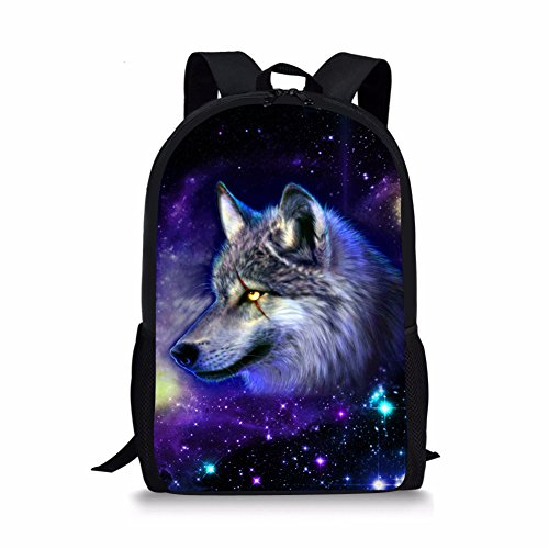 Bigcardesigns Galaxy Wolf Backpack for Boys School Book Bag Teenagers