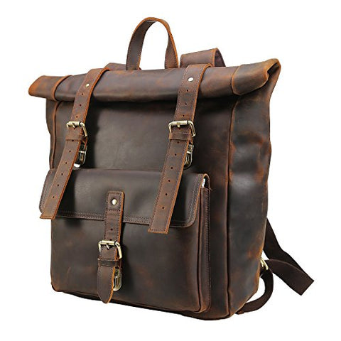 "Polare Retro Full Grain Leather 17"" Laptop Backpack Travel Bag Large Capacity For Men"