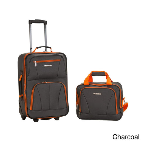 Rockland New Generation 2-Piece Lightweight Carry-On Softsided Luggage Set Charcoal